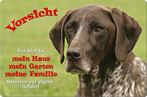 +++ Deutsch KURZHAAR - Metall WARNSCHILD Schild Hundeschild Sign - DKR 04 T1