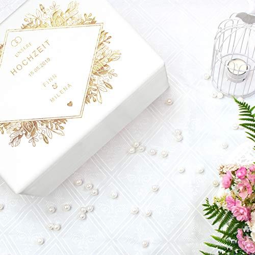LAUBLUST Holzkiste zur Hochzeit – Florale Raute – Geschenkkiste Personalisiert mit Gravur – ca. 40x30x24cm, Weiß, FSC® - 2