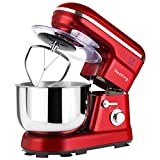 Nestling® 1200W Food Stand Mixer with 5L Bowl, 5 Speed Kitchen Electric,Includes Dough Hook, Whisk, Beater <span class='highlight'>for</span> Wheaten Food, Salad, Cake (Red)