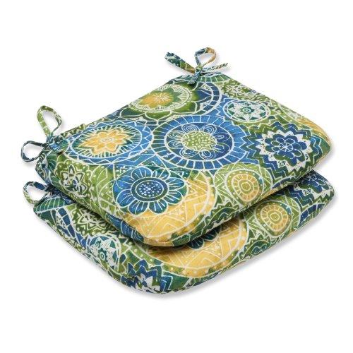 "Pillow Perfect Outdoor/Indoor Omnia Lagoon Round Corner Seat Cushions, 18.5"" x 15.5"", Blue"