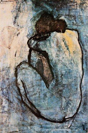 Leinwandbild Pablo Picasso - Blauer Akt ca 1902 - 91 x 61cm - Premiumqualität - Kunstdruck auf Leinwand, Akt - MADE IN GERMANY - ART-GALERIE-SHOP