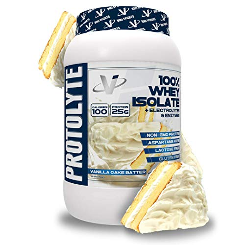 VMI Sports | ProtoLyte Whey Isolate Protein Powder | Low Calorie Whey Protein Powder for Weight Loss | Protein Powder for Muscle Gain | Digestive Enzymes | Non-GMO (Vanilla Cake Batter, 1.6 Pounds)