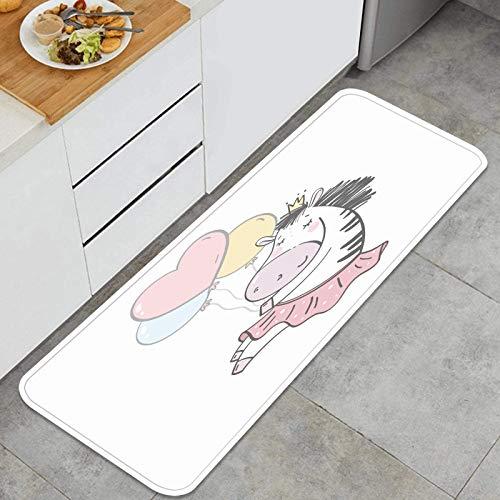 ZHIMI Multiuso Tappeti Cucina,Stampa di Carte per Baby Shower con Zebra Carina,Antiscivolo Tappeti per Cucina Lavabile Tappeti Bagno Zerbino Tappeto 45 x 120cm
