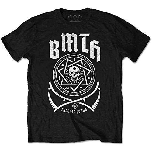 Rockoff Trade Bring Me The Horizon Crooked Camiseta, Negro (, L para Hombre