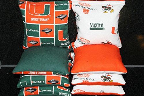 BackYardGamesUSA Cornhole BEANBAGS Made w Miami Hurricanes Fabric 8 ACA Regulation Game Toss Bags