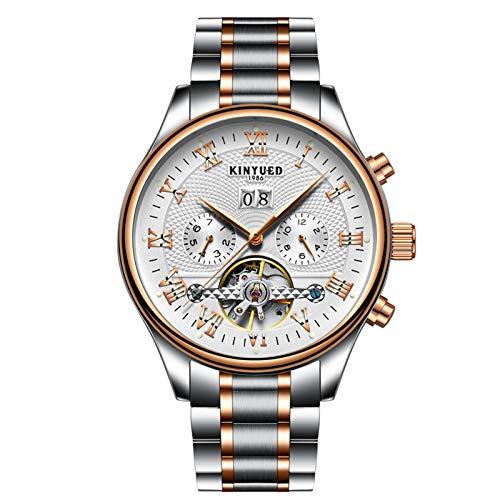 QZPM Hombres Automático Mecánico Relojes Acero Inoxidable Bracelet Multifunción Calendario Impermeable Cronógrafo Analógico Business Relojes,Blanco