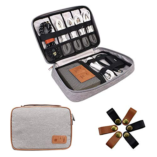 Electronics Organizer Travel Cable Organizer Bag Accessories Carry Cases Portable Cord Storage Organizer Case to House Charging Lighting USB Wire Cellphone Mini Tablet (Gray)