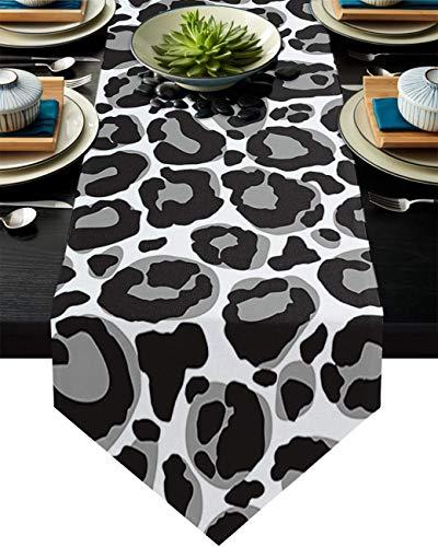 COMMER Camino de mesa, bufandas en blanco y negro, decoración de mesa para bodas, ceremonias de graduación/banquete (33 x 228 cm)