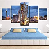 Lienzo moderno HD imprimir pintura al óleo decoración del hogar 5 piezas Lisboa Macau rascacielos paisaje póster marco imagen modular | modular