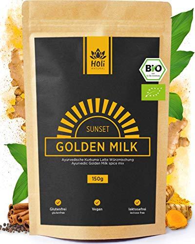 Holi Natural®️ Golden Milk Sunset | BIO Kurkuma Latte Mischung mit Ashwagandha | 30 Portionen | Hoher Curcumingehalt | Hohe Bioverfügbarkeit