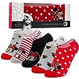 Disney Sneaker Socken Damen Bunt, 5 Paar Minnie Mouse Socken, Füßlinge Damen Set, 36-40 (Grau/Rot)