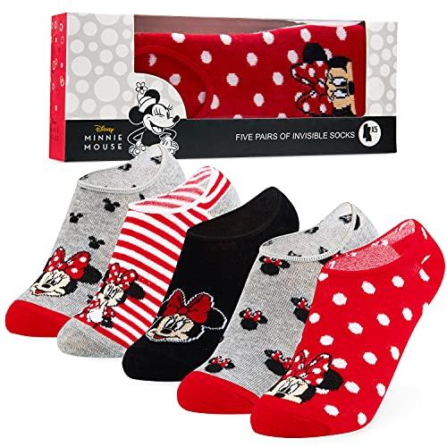 Disney Calcetines Tobilleros Mujer de Minnie Mouse, 5 Pares de Calcetines Invisibles Mujer, Regalos Originales Para Mujer (Gris/Rojo)