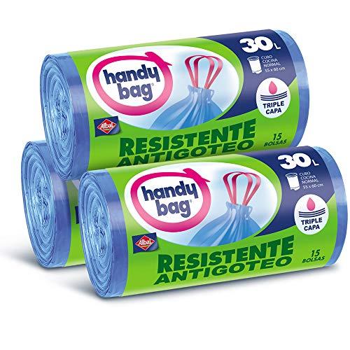Handy Bag Basura 30L, Extra Resistentes, No Gotean, 45 Bolsas, Plástico, Azul
