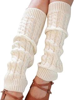 SHOBDW Camisetas de manga larga, SHOBDW Mujer Moda Invierno Cálido Puro Sólido Sobre la rodilla Calcetines altos Pierna de punto Crochet Fluffy Calcetines largos Nueva diversión Funky Novedad Regalo para damas
