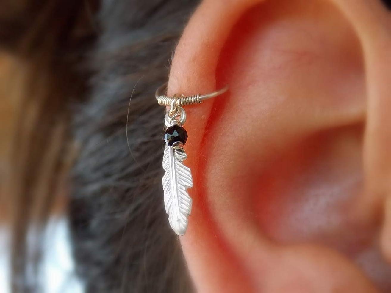 925 sterling silver feather cartilage hoop earring onyx helix piercing