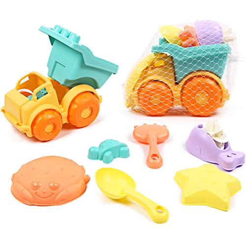 Caramella Bubble 7 Piece Beach Toys Set with Mesh Bag Includes Dump Truck, Water Wheel, Shovel, Rake and Molds,Soft Safety Plastic Eco-Friendly Sand Toys for Kids Toddlers Outdoor Play