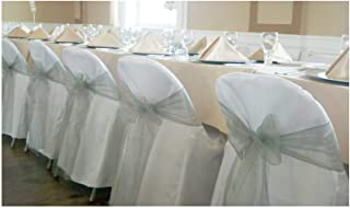 SPRINGROSE 100 White Polyester Standard Folding Wedding Chair Covers. Chair Sash is Not Included.