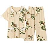 DFDLNL Pijamas de algodón Completo para Mujer, Conjunto de Pijamas de Encaje Pigiama con Cuello en v, Pijamas de Verano para Mujer, Ropa de Dormir, 2 uds, XXXL