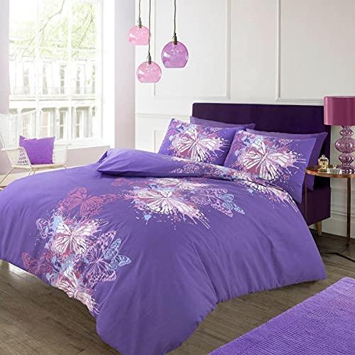 ELAFY Juego de funda de edredón con diseño de mariposas, diseño de mariposas, funda de edredón de lujo con funda de almohada de alta calidad.