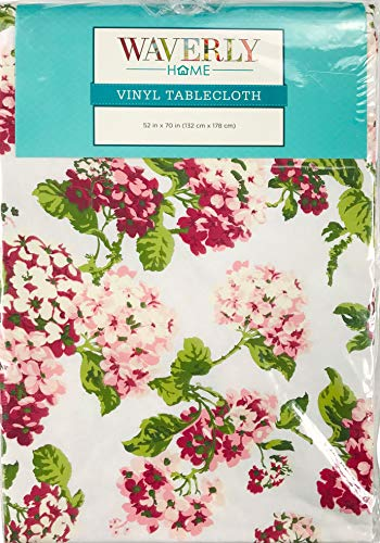 Waverly Home Spring Floral Vinyl Tablecloth: Decorative Pink Hydrangeas Green Leaf Motif (52' x 70' Inch)