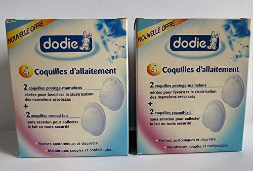 Dodie Lot de 2 boites Coquilles d'allaitement 4 Proteges Mamelons et 4 Coquilles Recueil Lait