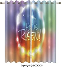 UHOO Blackout Curtains/Thermal Insulated Curtain He Has Risen Theme Quote with Abstract Colorful Fantasy Dreamlike Composition for Bedroom and Kitchen-Set of 2 Panels(W54 xL84 per Panel)
