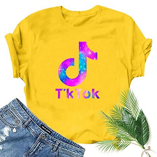 TIK-Tok Divertido Patrón De Impresión Sexy para Mujer Verano Gran Oferta Camiseta Ejercicio De Yoga Suelta Camiseta De Cuello Redondo 3XL