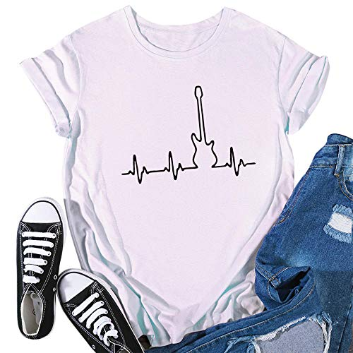 T-Shirt Pattern Summer Women Casual O-Neck Heartbeat Print Short Sleeve Aesthetics Apply To Daily Use Exercise Running Cycling Gym Etc-White_XXXL_Style