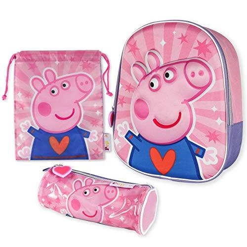 Mochila Infantil 3D, Estuche Escolar y Bolsa Merienda de Cuerdas Pack - Peppa Pig | Mochilas Escolares para Niñas y Niños a Partir de 3 Años | Material Escolar Vuelta al Cole de Peppa Pig