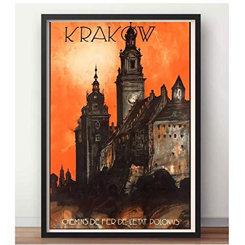 Kraków Polska Sztuka Kraków Mapa Retro Vintage Kraft Travel Plakat Płótno Naklejka Ścienna Home Bar Plakaty Dekoracja Prezent-20x28 cali Bez Ramki