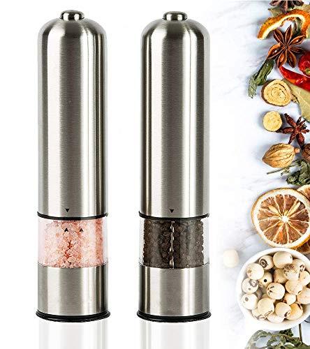 Fitsund Pfeffermühle Elektrische Premium Salz und Pfeffermühle mit sverstellbarem Grobheit Keramikmahlwerk Salzmühle Edelstahl Einhandbedienung Gewürzmühle 2 Stück
