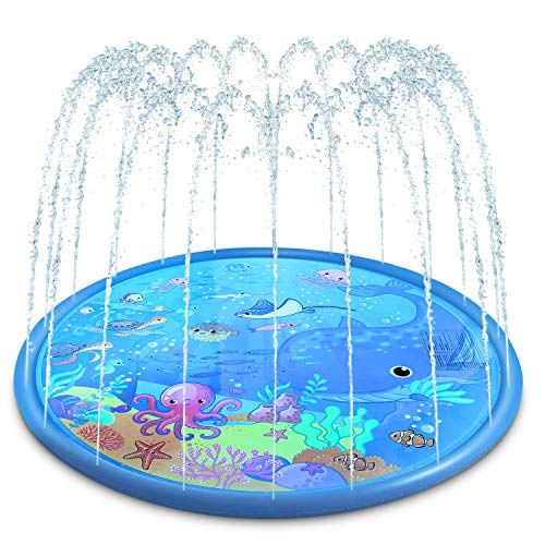 Magicfun Sprinkler & Splash Pad for Kids - Big 68'' Inflatable Blow up Pool Sprinkle Mat, Toddler...