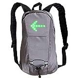 ADDG Mochila de luz LED para Bicicleta con Intermitente LED, para Ciclismo con Bolsillo USB Recargable, para Viajes nocturnos, 15 L