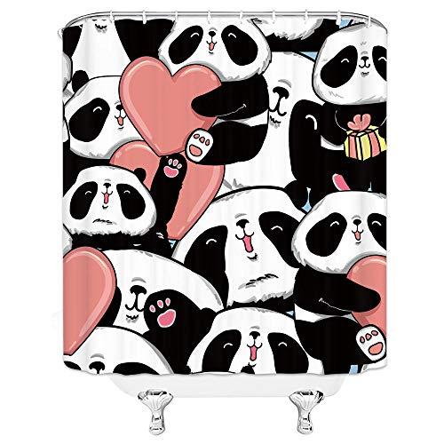 Netter Panda Badezimmer-Duschvorhang Wasserdichter Polyester-Badezimmervorhang schöner Cartoon-Duschvorhang mit Tiermotiv-180 cm x 220 cm
