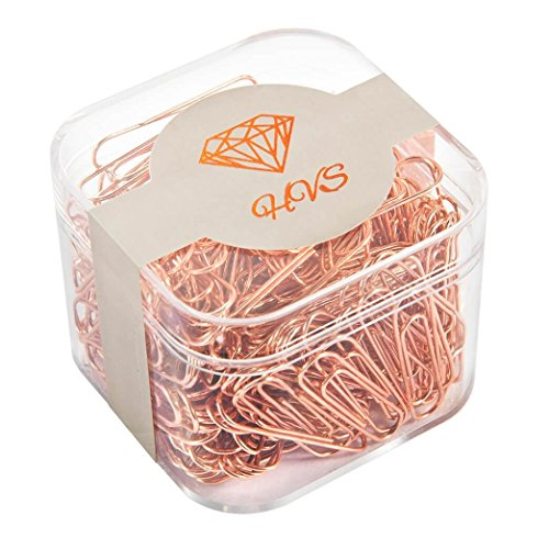 200 Office Paper Clips, 32mm Rose Gold Paper Clips, Rose Gold Office Supplies, 200-Count - HVS