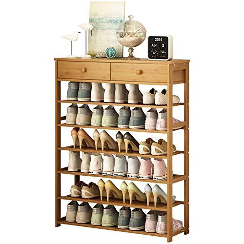 El almacenamiento en zapatero es simple y práctico Rack de zapatos Multifunción Home Rack de almacenamiento de zapatos de bambú de 6 capas Organizador de zapatos de estante de zapatos con 2 cajones Id