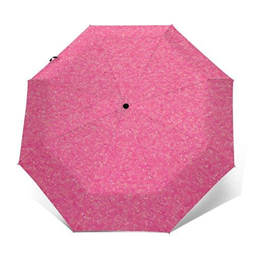 Paraguas automático de tres pliegues con fósforo rosa brillante que puede prevenir el viento, la lluvia y los rayos UV.