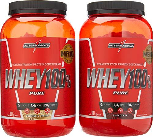 kit 2x Whey 100% Pure 907g Cookies E Chocolate Integralmedica