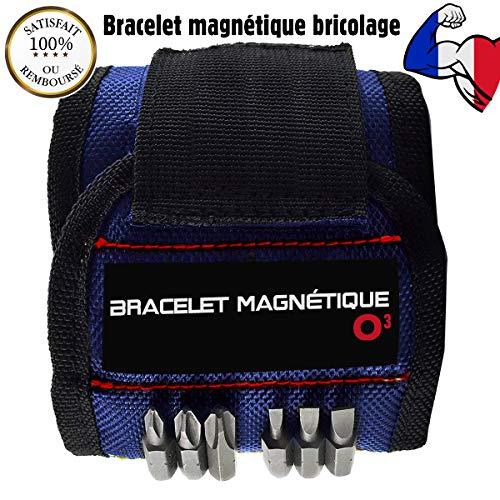 O3 Magnetarmband zum Basteln – verstellbar – 15 starke Magnete – Geschenkidee für Vatertag und Weihnachten – ideal zum Halten von Nägeln, Schrauben, Bohrern – Herren – Damen