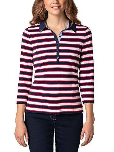 Walbusch Damen Freizeitpolo Cotton Modal gestreift Rot/Marine/Weiß 48