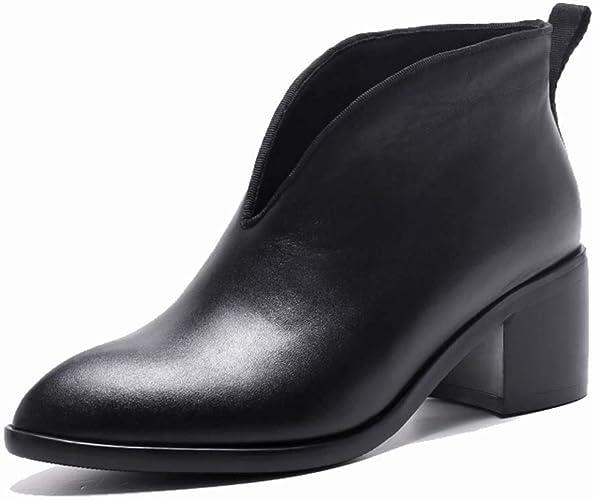MISS&YG Wohommes V-Neck Soft Chaussons Cuir Nouveau Pointu Bottes Nues épais avec Pieds Bottes pour Femmes