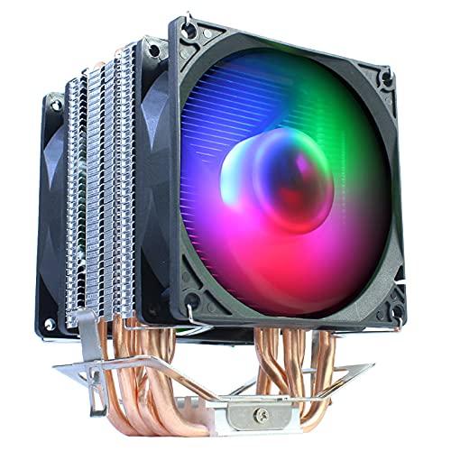 BOXIANGY 6 Copper Tube RBG CPU Radiator 775AMD1155 Desktop Computer Motherboard Silent Fan 3线双风扇五彩灯