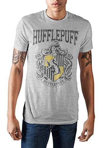 Harry Potter Hogwarts School of Witchcraft and Wizardry Hufflepuff House Crest Men's T-Shirt (Athletic Heather, Small)