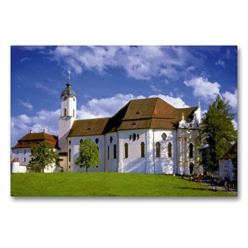 Calvendo Premium Textil-Leinwand 90 cm x 60 cm quer, Wallfahrtskirche Die Wies, Kunstwerk Bayrisches...