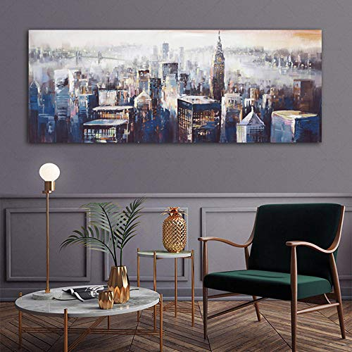 OCRTN Cuadro de Lienzo Abstracto de Ciudad Cuadros de Arte de Pared para Sala de Estar Dormitorio Junto a la Cama Pintura Decorativa Moderna - 40x120cm sin Marco