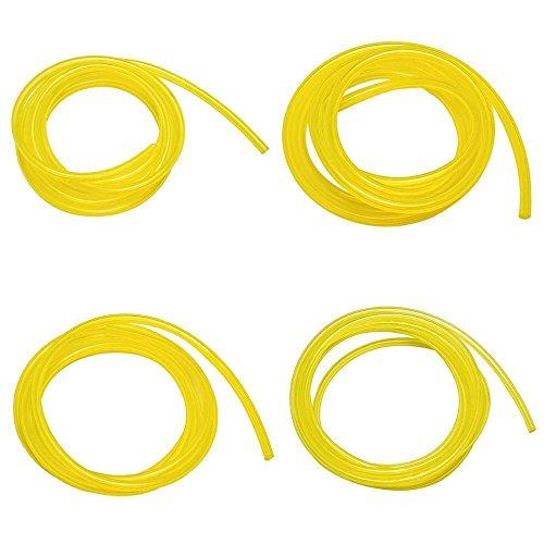 Kobwa - Tubi del carburante in 4 dimensioni diverse per tagliaerba e motosega, di colore giallo
