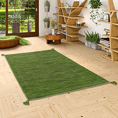 Prico - Tapis Kilim Naturel - Vert - 8 Tailles Disponibles