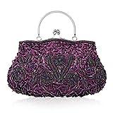 Women Vintage Beaded Evening Clutch Vintage Design Sequin Floral Top-handle Handbag Party Wedding Purse Wallet (Purple)