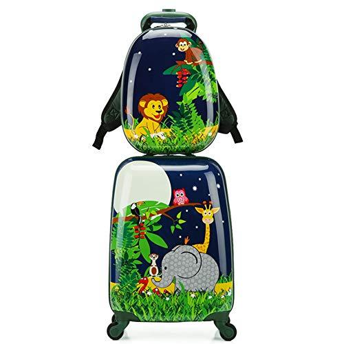 MountRise-Bags Juego de Equipaje de Viaje para niños con 18 Pulgadas, 2 Piezas de patrón de Dibujos Animados de Animales Maleta Dura con Ruedas, Ideal para niños, Escuela, Presente,Elephants,18inches