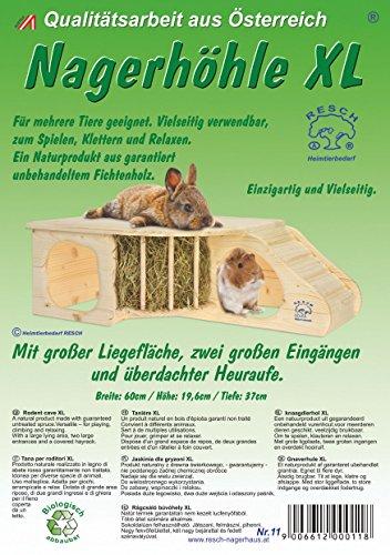 """Resch Nr11 """"Nagerhöhle XL"""" naturbelassenes Massivholz aus Fichte / mit Treppe zur Liegeterasse, integrierter Heuraufe, großen Eingängen und gerundeten Ecken - 7"""